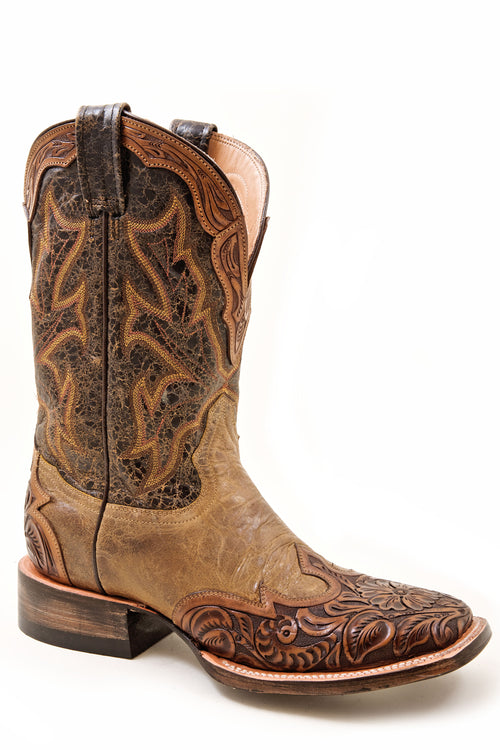 STETSON LADIES ORANGE 2TONE BROWN HAND TOOL WINGTIP W/ CROWN BELLE BOOT