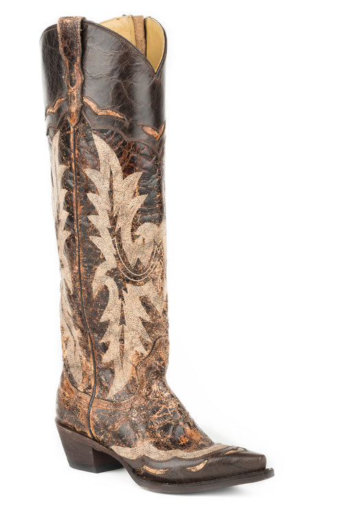 "STETSON WOMENS BROWN BROWN VAMP AND 18"" SHAFT WITH UNIQUE SADIE BOOT"