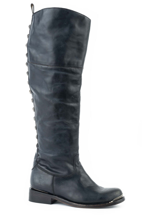 "STETSON WOMENS BLACK BLACK VAMP 18""OVER THE KNEE SHAFT WITH ERA BOOT"