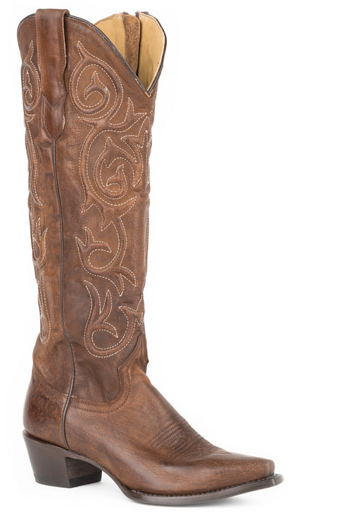 "STETSON WOMENS BROWN BROWN VAMP AND 17"" SHAFT WITH BLAIR BROWN BOOT"