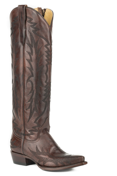 "STETSON WOMENS BROWN BROWN VAMP AND 18"" SHAFT WITH UNIQUE RILEY BOOT"
