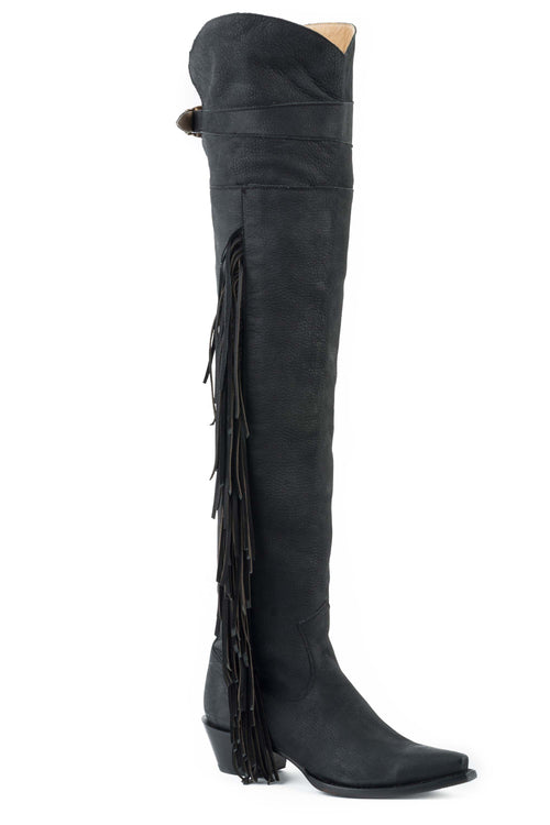 "STETSON WOMENS BLACK BLACK VAMP AND 26""OVER THE KNEE SHAFT GLAM BOOT"