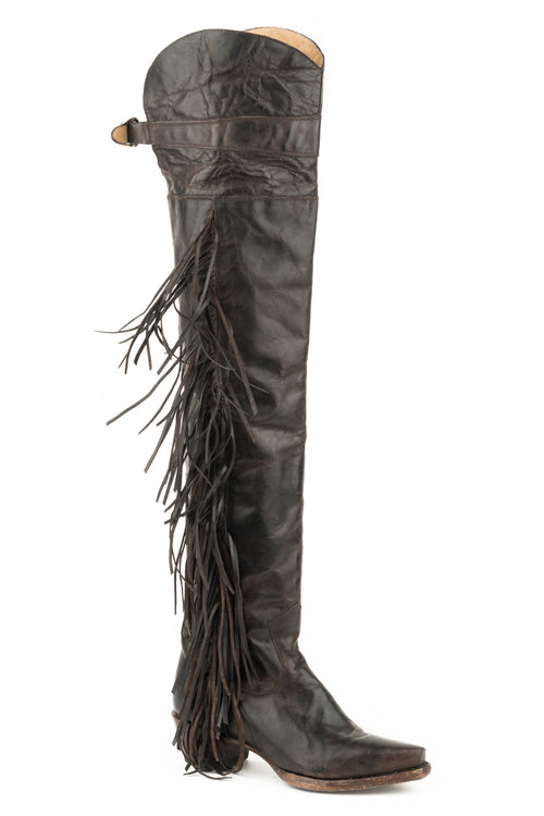 "STETSON WOMENS BROWN BROWN VAMP AND 26""OVER THE KNEE SHAFT GLAM BOOTS"