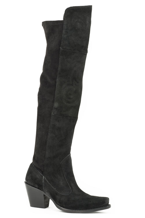 "STETSON WOMENS BLACK BLACK SUEDE VAMP AND 26""OVER THE KNEE TATUM BOOTS"