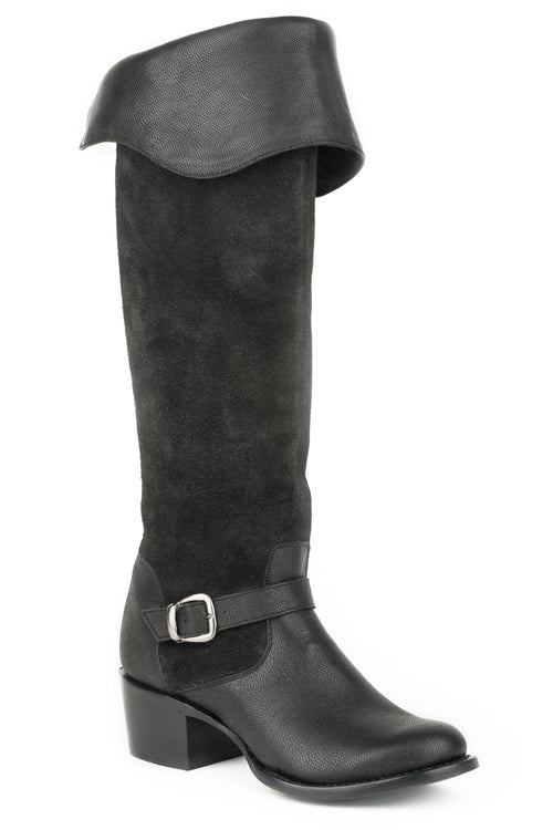"STETSON WOMENS BLACK BLACK GOAT VAMP/20""OVER THE KNEE SHAFT BIANCA BOOTS"