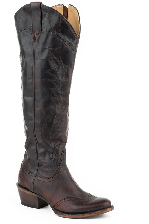 "STETSON WOMENS BROWN BROWN VAMP AND 18""SHAFT  WING TIP SOPHIA BOOTS"