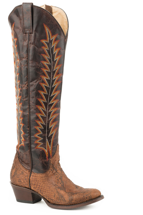 "STETSON WOMENS BROWN BRANDY PYTHON VAMP/BROWN CALF 18""SHAFT MILEY BOOTS"
