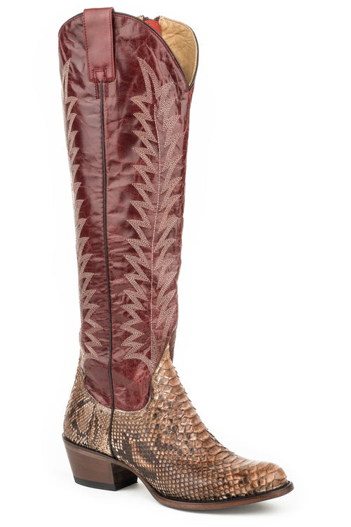 "STETSON WOMENS RED CREAM PYTHON VAMP/RED GOAT 18""SHAFT RUBY BOOTS"
