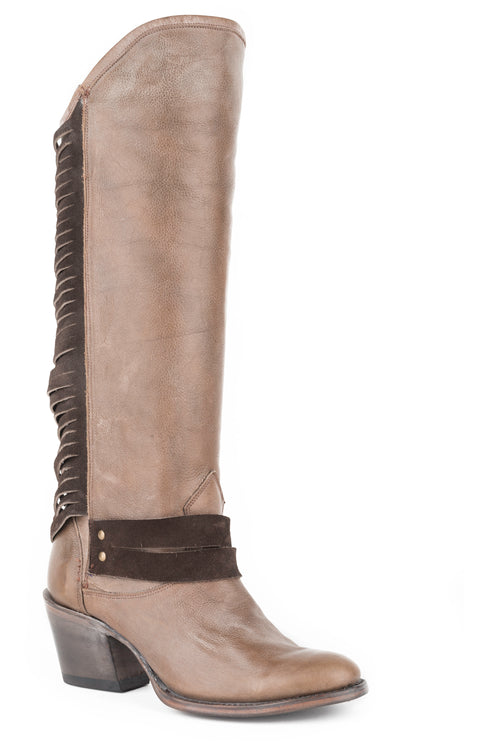 "STETSON WOMENS GREY TAUPE VMP AND 17""SHAFT WITH CHOCOLATE DOVER BOOT"