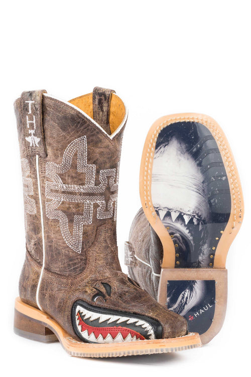 TIN HAUL LITTLE KIDS TAN SHARKY SHARKY / MAN EATER SOLE BOOT