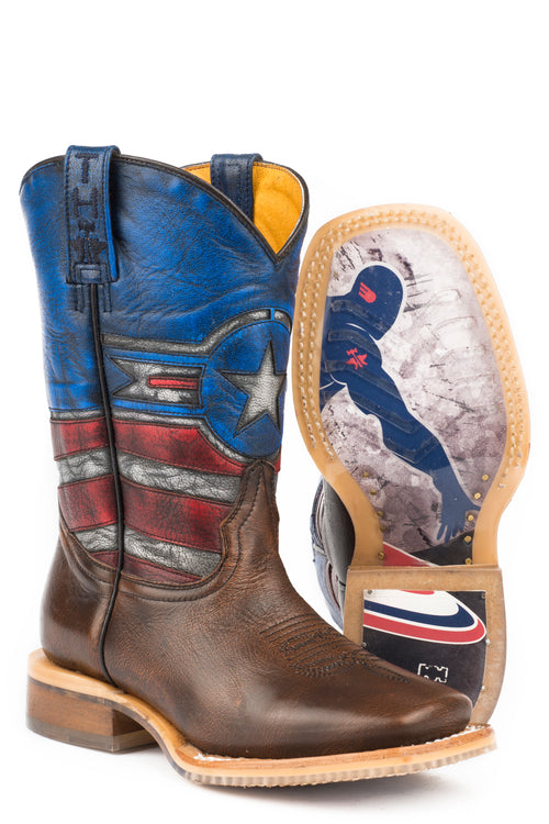 TIN HAUL LITTLE KIDS BROWN JUSTICE JUSTICE / AMERICAN HERO SOLE BOOT