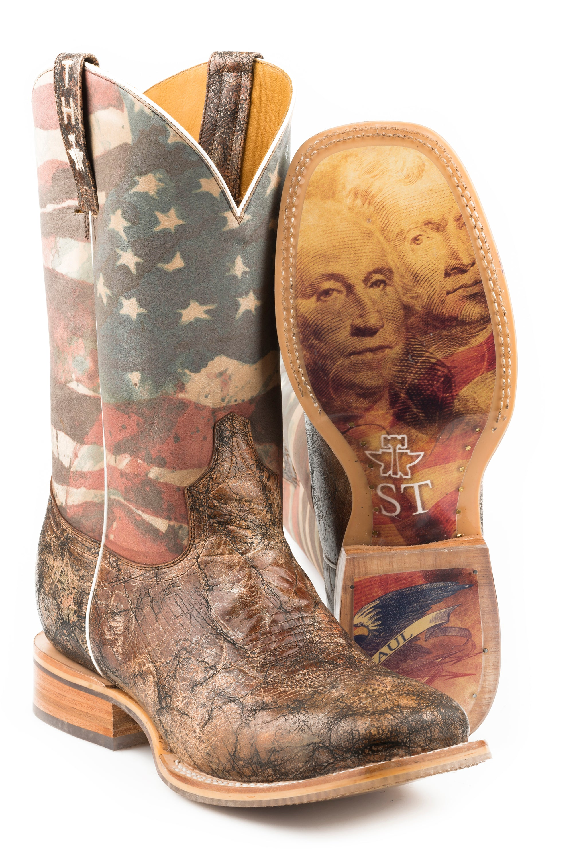 TIN HAUL MENS BROWN LAND OF THE FREE LAND OF THE FREE / PRESIDENTIAL SOLE BOOTS