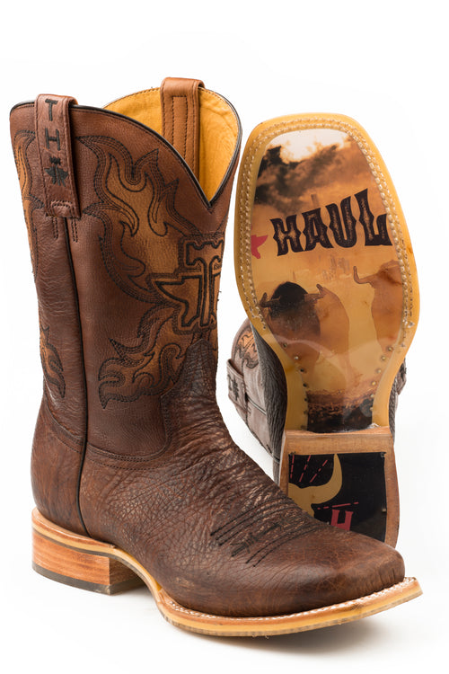 TIN HAUL MENS BROWN STAMPEDE STAMPEDE/BULL SOLE BOOTS