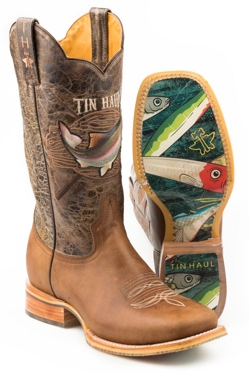 TIN HAUL MENS BROWN ALPHA ANGLER ALPHA ANGLER/FISHING LURE SOLE BOOTS