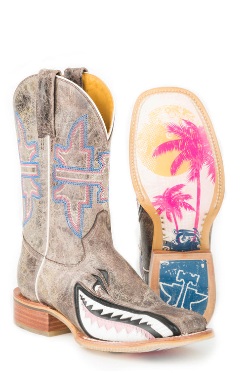 TIN HAUL LADIES TAN GNARLY PINK SHARK MAN EATER / MAN EATER SOLE BOOTS