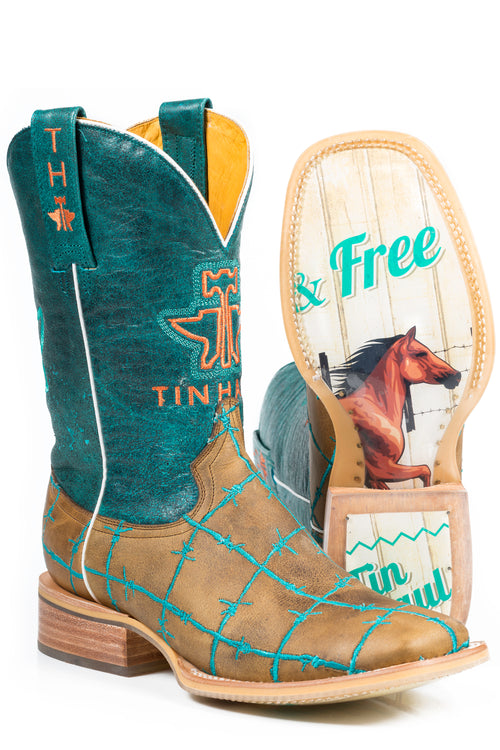 TIN HAUL LADIES TAN BARB WIRE BARBD WIRE / WILD AND FREE SOLE BOOTS