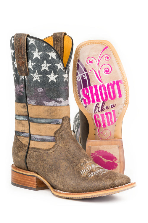 TIN HAUL LADIES MULTI AMERICAN WOMAN AMERICAN WOMAN / SHOOT LIKE A GIRL SOLE BOOTS