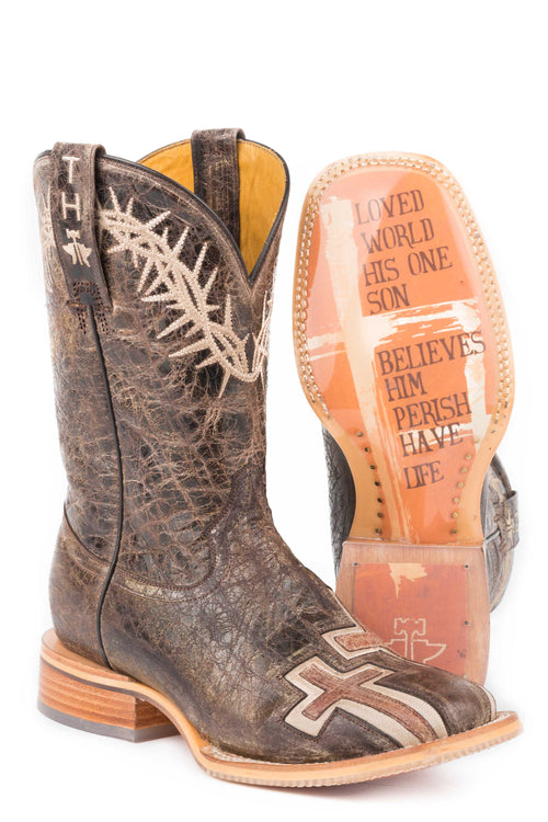 TIN HAUL WOMENS BROWN MY SAVIOR MY SAVIOR / BIBLE VERSE SOLE BOOT