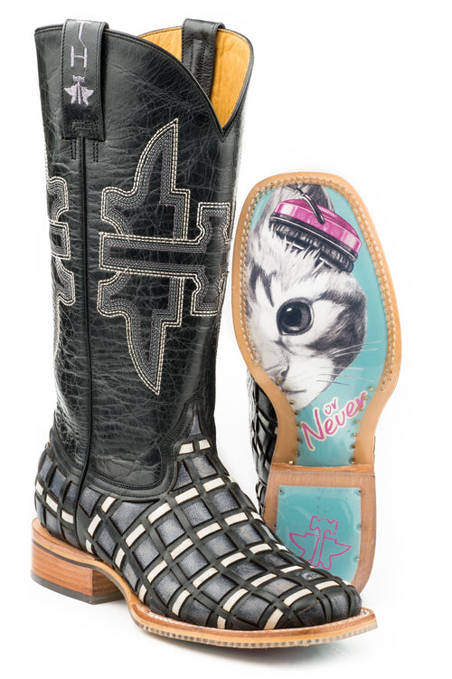 TIN HAUL WOMENS BLACK CHECKERED PAST CHECKERED PAST / MEOW OR NEVER SOLE BOOTS
