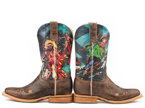 TIN HAUL WOMENS BROWN WILD WILD WEST   NON-REMOVABLE INSOLE WILD WILD WEST / COWBOY & INDIAN SOLE BOOTS