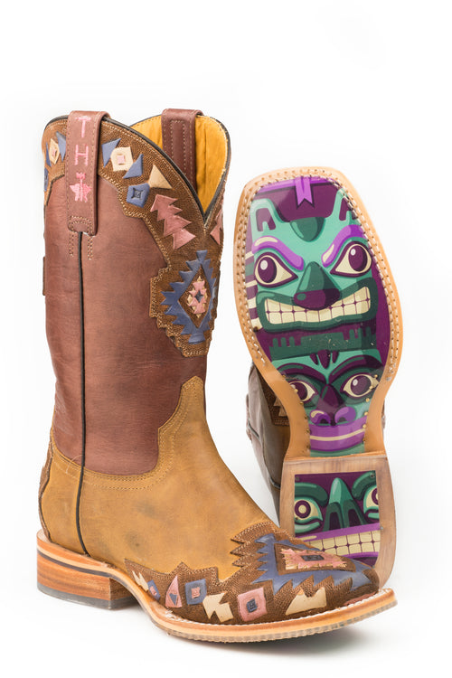 TIN HAUL WOMENS BROWN ONE TRIBE     NON-REMOVABLE INSOLE ONE TRIBE / TOTEM SOLE BOOTS