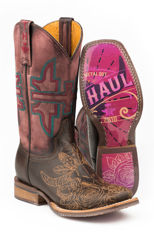 TIN HAUL WOMENS BROWN BULLHEADED      NON-REMOVABLE INSOLE BULLHEADED / ROSE POSTER SOLE BOOTS