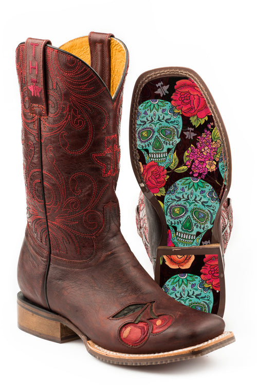TIN HAUL WOMENS RED MON CHERRY       NON REMOVEABLE INSOLE MON CHERRY/SKULL AND ROSES SOLE BOOTS