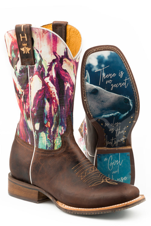TIN HAUL WOMENS BROWN HIGHBROW HORSES  NON REMOVEABLE INSOLE HIGHBROW HORSES/TRUE LOVE SOLE BOOTS