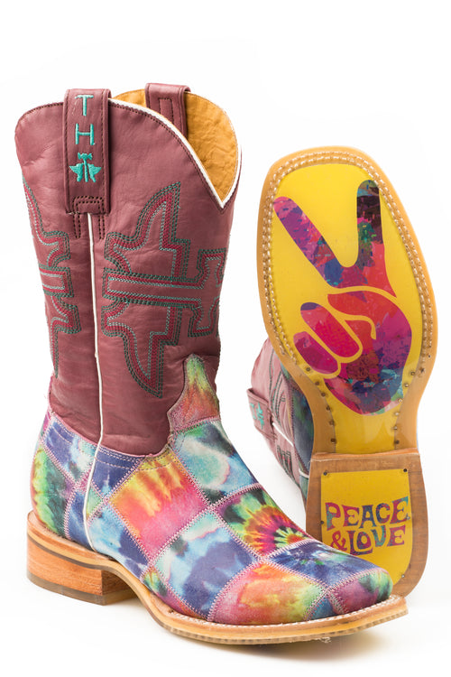 TIN HAUL WOMENS MULTI TRIPPY CHECK     NON REMOVEABLE INSOLE TRIPPY CHECK/PEACE AND LOVE SOLE BOOTS