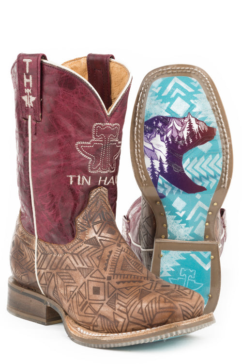 TIN HAUL BIG KIDS TAN FREE SPIRIT FREE SPIRIT/NATIVE BEAR SOLE BOOTS