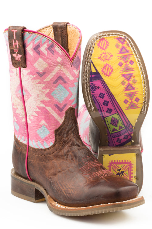 TIN HAUL BIG KIDS BROWN PINK MOON MOON/TEEPEE SOLE BOOTS
