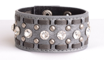LEATHER CUFFS WITH STITCH Pewter