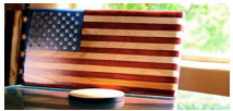 "Handcrafted Laser Engraved Wooden Flag 6-1/4"" x 11"" ""Young Glory"""
