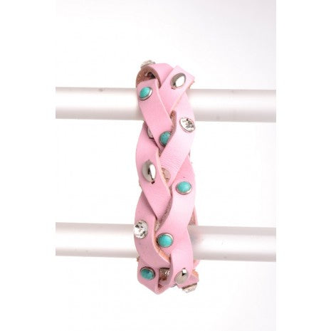 Leather turq/rs braided cuff Pink