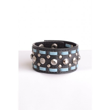 LEATHER CUFFS WITH STITCH Black