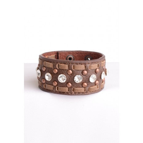 LEATHER CUFFS WITH STITCH Brown