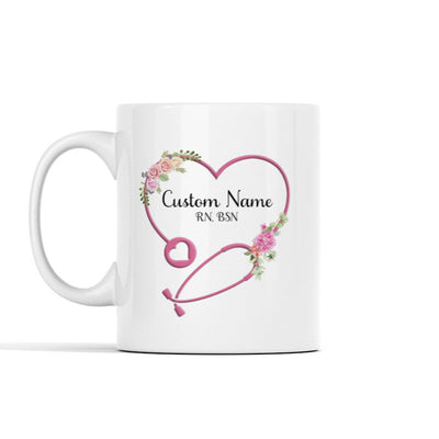 Heart Stethoscope with Flowers Personalized Mug
