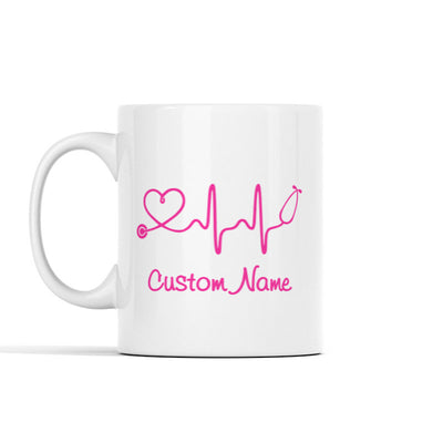 Nurse Stethoscope Heartbeat (Custom Name) Mugs
