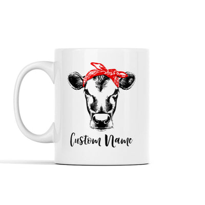Cow With Red Bandana (Custom Name) Personalized Mug