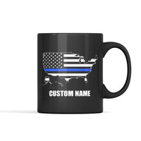 Thin Blue Line American Flag (Custom) Personalized Mug