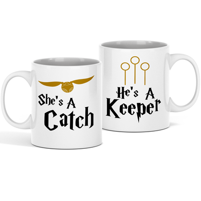 She's A Catch & He's A Keeper Couple Mugs