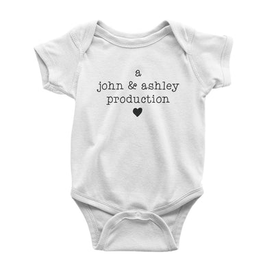 A (Dad & Mom) Production Baby Onesie, Personalized