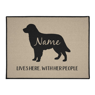 Golden Retriever Lives Here Personalized Indoor/Outdoor Floor Mats