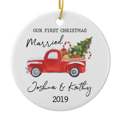 Our First Christmas Married Personalized Ornament