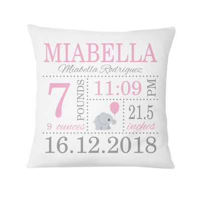 Cute Elephant, Personalized Birth Announcement Pillow