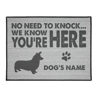 Personalized Doormat with Corgi Name