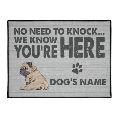 Personalized Doormat with Pug Name