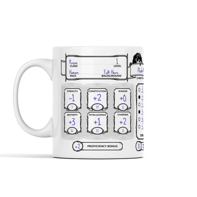 DnD Character Sheet Personalized Mug