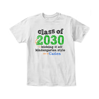 Class of (Custom) Kicking it off Kindergarten Style Personalized T-shirt