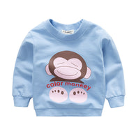 [102215-BLUE] - Atasan Anak / Sweater Anak - Motif Color Monkey